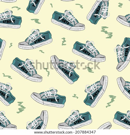 Seamless texture with sneakers painted with green color