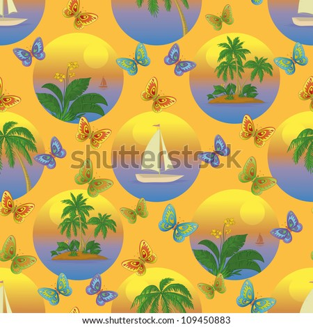 Seamless tropical background with a boat at sea, butterflies, palms and flowers. Vector illustration