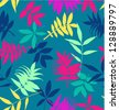 seamless tropical leaves pattern background - stock vector