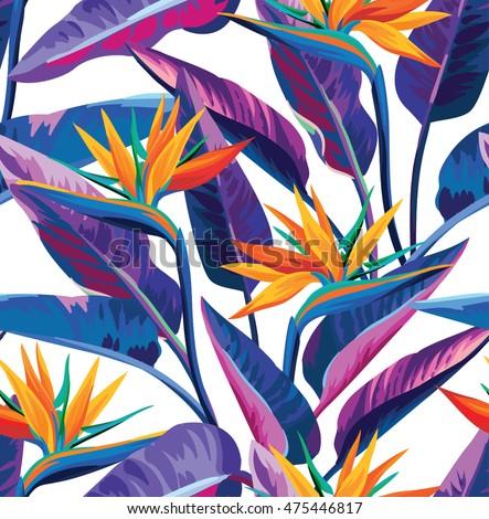 Leaf pattern background retro botanical style stylish flowers print - Tropical Flowers Jungle Leaves Bird Paradise Stock Vector