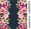 seamless tropical summer flower,mirror effect vector pattern background - stock vector