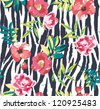 seamless tropical vintage flower vector pattern on zebra background - stock vector