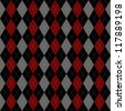 Seamless vector argyle pattern - red, black and grey. - stock vector