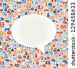 Seamless vector background speech bubble shape formed by the social media icons and words - stock photo