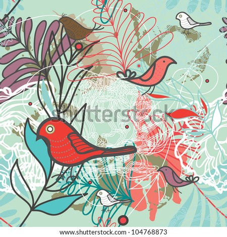 Seamless vector background with birds and plants
