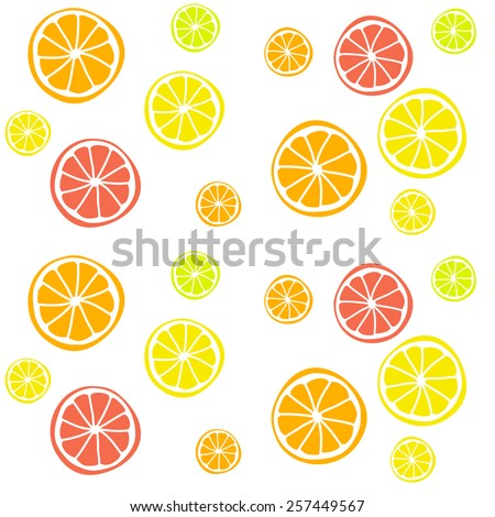 Seamless vector background with citrus fruits. Lime, lemon, tangerine, orange. Hand-drawn