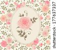 Seamless vector background with climbing roses. Floral pattern with branch of roses in oval frame. - stock vector
