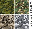Seamless vector camouflage pack for urban, woodland, forest and disguise situations - stock vector