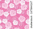 Seamless vector floral pattern with pink and white roses on sweet candy pink background. Beautiful abstract vintage texture with pink flowers and cute background. - stock vector