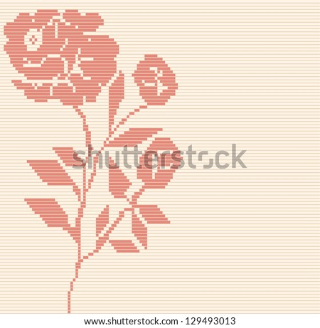 Seamless  vector geometric rose flower pattern background
