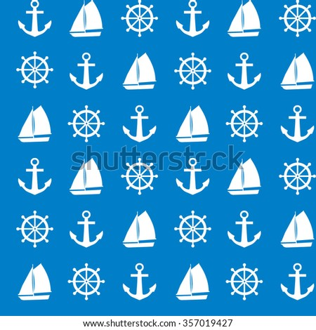 Seamless vector pattern of sailboat, steering wheel and anchor shape, texture for printing, background, white and blue colors.