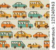 Seamless vector pattern with cars and buses. - stock photo