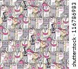 Seamless vector pattern with funny cats - stock vector