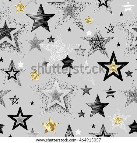 Seamless vector pattern with hand-drawn and texture golden foil stars, abstraction illustration on gray background.