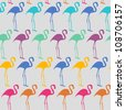 Seamless vector texture with flamingo - stock vector