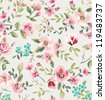 seamless vintage flower garden pattern background - stock photo