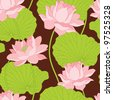 Seamless wallpaper pattern with lotus - stock vector