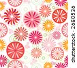 Seamless wallpaper pattern with wheel, round and sunflower design, warm colors, vector - stock vector
