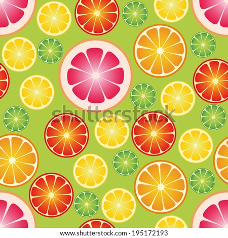 Seamless wallpaper with citrus fruits. Vector illustration.