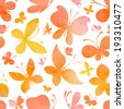 Seamless watercolor pattern of butterflies. Bright watercolor butterflies on white background. Abstract hand drawn watercolor texture. - stock photo