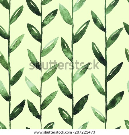 Seamless Watercolor Pattern With Green Leaves On Green Background