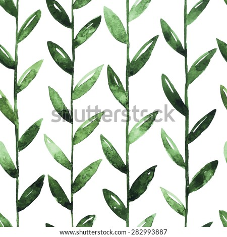 Seamless Watercolor Pattern With Green Leaves On White Background