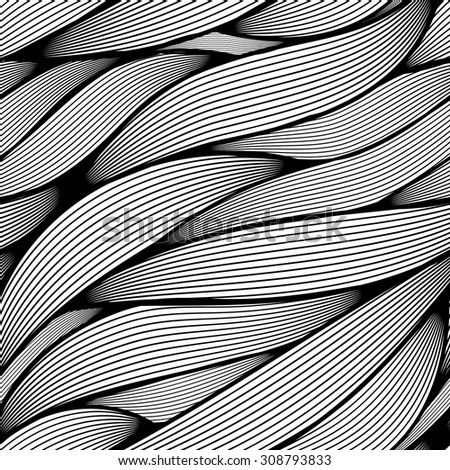 Seamless wavy line leaves vector pattern.