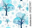 Seamless white-blue winter pattern (vector) - stock vector