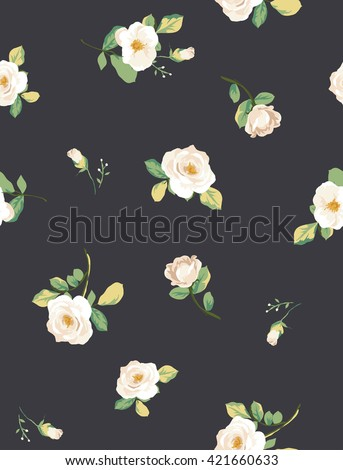 seamless white flower pattern with navy background