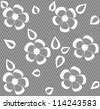 seamless white  lace floral pattern on gray background - stock vector