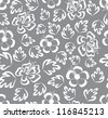 seamless white  lace floral pattern on gray background - stock photo