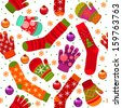 Seamless winter pattern with stocking, gloves, mittens and christmas balls - stock vector