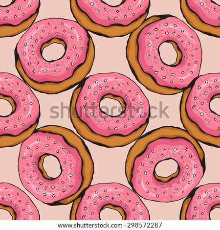 seamless with donut vector sketch