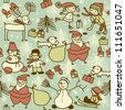 seamless xmas pattern with santa and children playing - stock vector