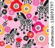Seamless zebra safari flower kids illustration background pattern in vector - stock vector