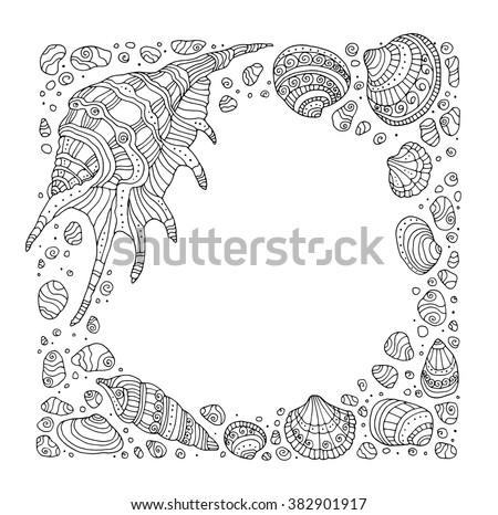 Seashell Border Frame Ocean Pattern Vector Vintage Illustration Zentangle Coloring Book Page