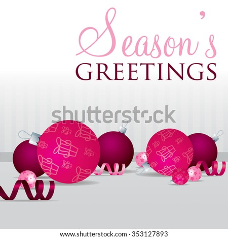 Season's Greetings scatter bauble card in vector format.