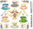Selection of fancy victorian teacups , isolated on white - stock vector