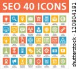 SEO 40 Icons - stock vector