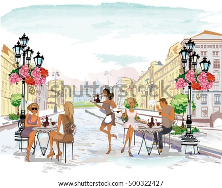Series of the street cafes with people, men and women, in the old city, watercolor vector illustration. Waiters serve the tables.