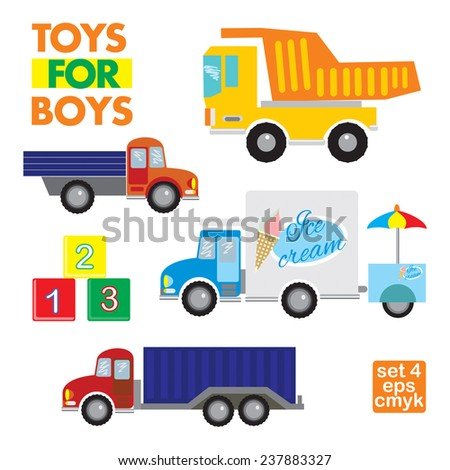 Series of vector objects toys for boys. Set of 4 . Blocks, dump truck, lorry,van with ice cream.