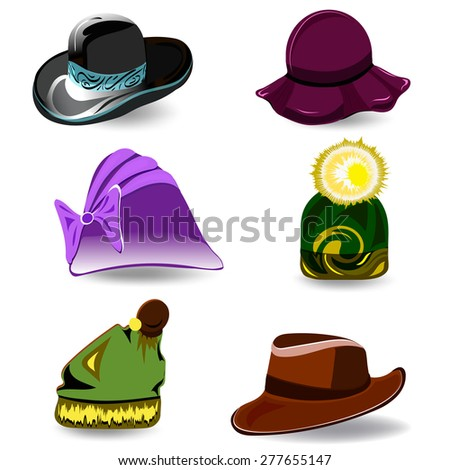 Set a variety of hats for women and men. Colorful cartoon style. Vector illustration