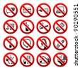 Set ban icons Prohibited symbols Office black signs Vector - stock vector