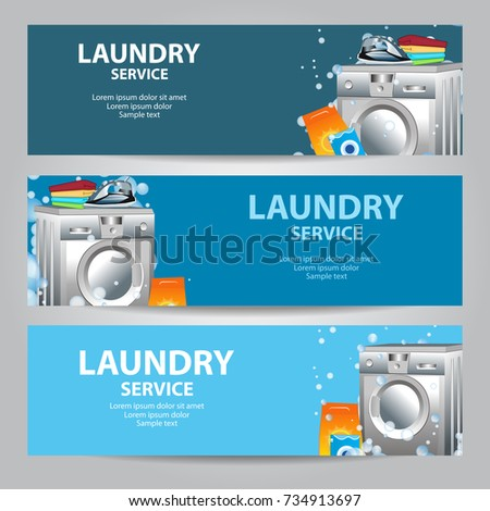ironing service flyer template - set banners laundry service poster template stock vector