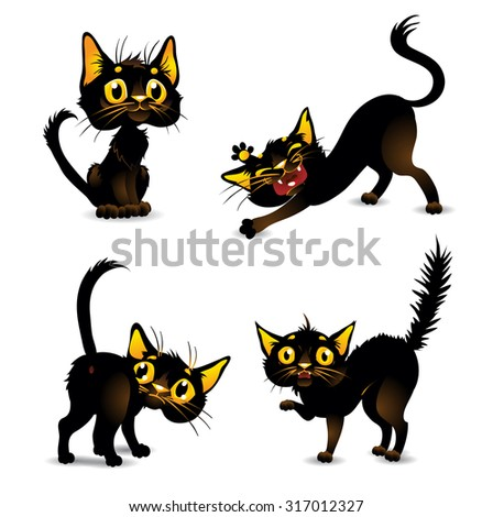 Set black cats for Halloween