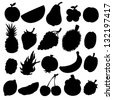 Set black silhouette various fruits on a white background. Abstract design logo. Logotype art - vector - stock vector