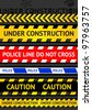 Set caution tapes, seamless strip. Warning line - stock vector