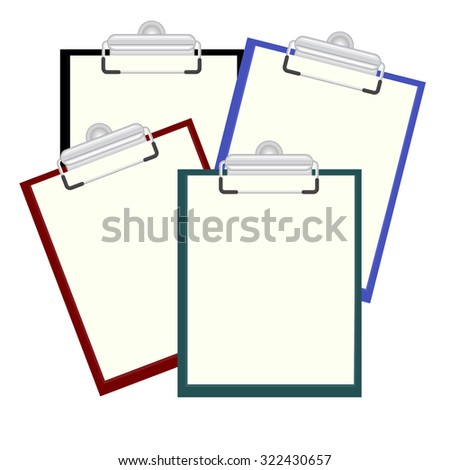 Set clipboard with a blank sheet of paper.  Vector illustration