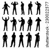 Set collection of various different man silhouettes in different poses. Easy editable layered vector illustration. - stock vector