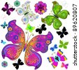 Set colorful and black butterflies for design on white (vector) - stock vector